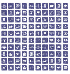 100 help desk icons set grunge sapphire vector