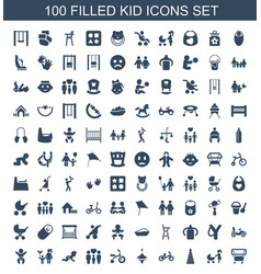 100 kid icons vector image