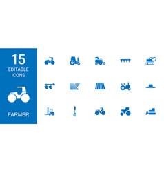 15 farmer icons vector