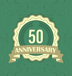 50th anniversary label on a green ornament vector
