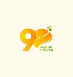 90 years anniversary celebration orange template vector