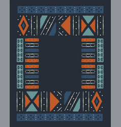 African tribal art empty frame template background vector