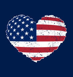 American flag heart grunge vector