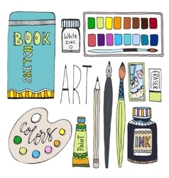 Art supplies for drawing Cartoon set with vector image