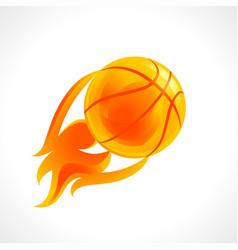 basketball flame logo vector image