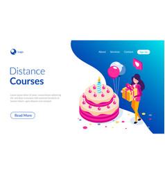big birthday cake isometric concept happy girl vector image