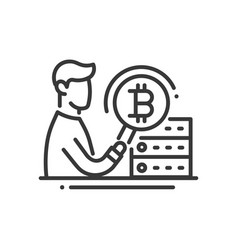 bitcoin mining - line design single isolated icon vector image