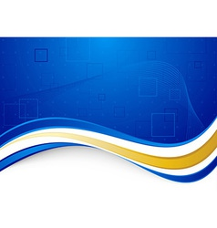 Blue communicational background with golden border vector