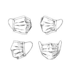 Breathing masks hand drawn medical face mask flu vector