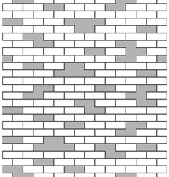 Brick wall seamless pattern White and gray surface vector