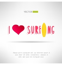 Bright colorful surfing tshirt print Love heart vector image
