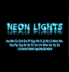 bright neon alphabet letter blue vector image
