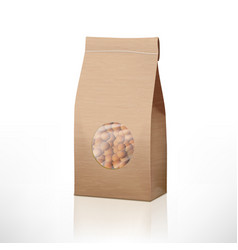 brown craft paper peas bag packaging with vector image