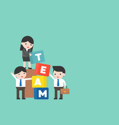 business people and manager with team block team vector image