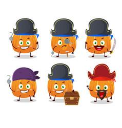 Cartoon character pumpkin with various pirates vector