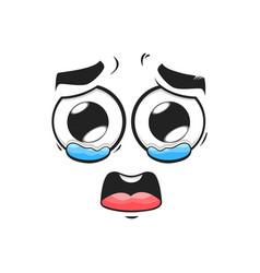 Cartoon crying face sad emoji with tears in eyes vector