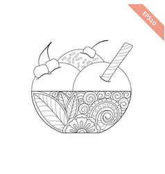 cartoon hand drawn ice cream vector image