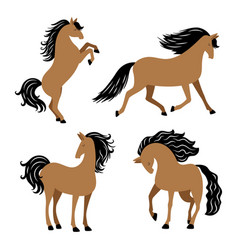 cartoon horse in different poses isolated vector image