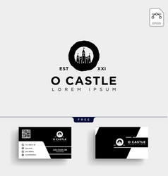 castle logo template and business card vector image