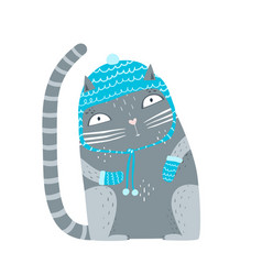 cat in winter hat and mittens vector image