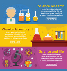 Chemical science banner horizontal set flat style vector