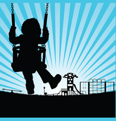 Child silhouette cute on swing in playground vector