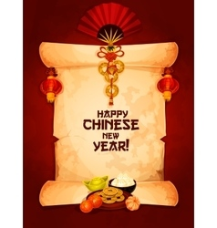 Chinese New Year greeting card on paper scroll vector