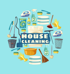 Clean home laundry and house cleaning service vector