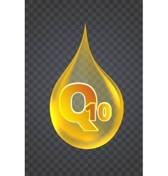 Coenzyme Q10 Gold oil icon vector image