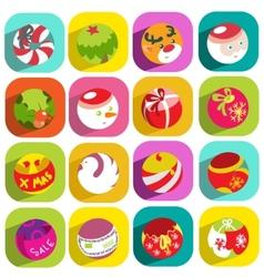 colorful flat christmas icons vector image
