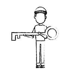 Computer hacker man character holding key system vector