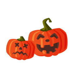 couple halloween scary pumpkins with spooky vector image