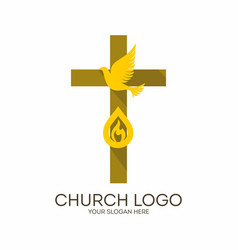 cross holy spirit and flame vector image