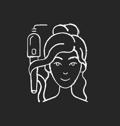 Curling iron chalk white icon on black background vector