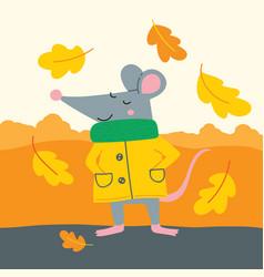 cute rat in yellow raincoat vector image