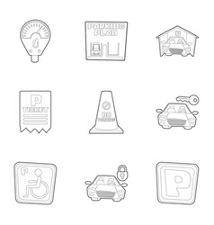 Disabled parking icons set outline style vector