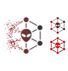 Dissolved pixel halftone alien network icon vector