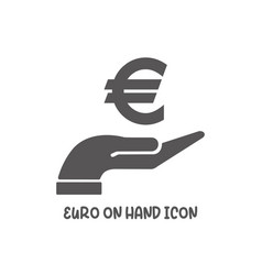 euro on hand icon simple flat style vector image