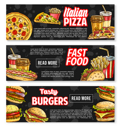 Fast food banners for fastfood restaurant vector