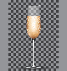 Filled champagne glass on transparent background vector
