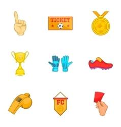 Football icons set cartoon style vector