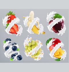 Fruits and berries in milk splash yogurt vector
