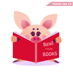 funy cartoon pig with the book vector image