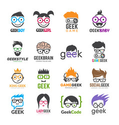 Geek logotypes identity for smart kids computer vector