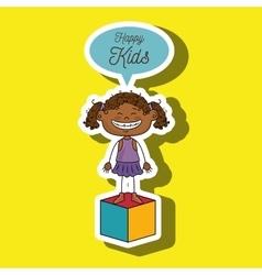 Girl kids happy cube icon vector