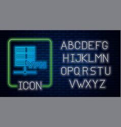 glowing neon server vpn icon isolated on brick vector image