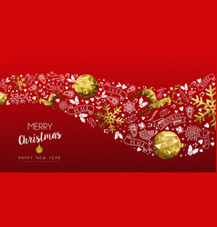 Gold deer christmas and new year web banner vector
