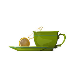 gold tea strainers and green cup of tea isolated vector image