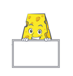 Grinning cheese character cartoon style with board vector