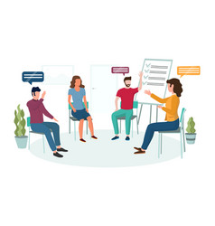 Group psychotherapy concept for web banner vector